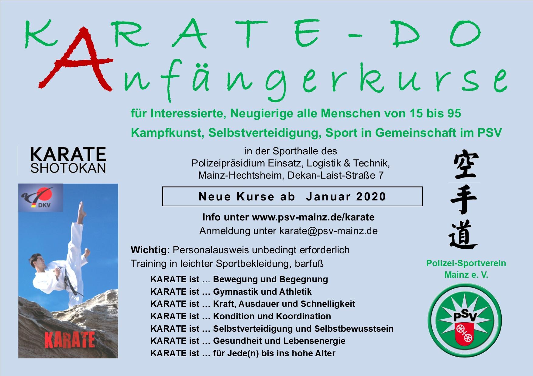karate-Anfängerkurs im PSV Mainz im August